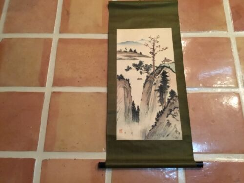 Antique Chinese scroll painting lake in mountains seal mark