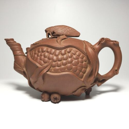 Chinese Antique Pomegranate Shape Yixing Purple Clay Teapot