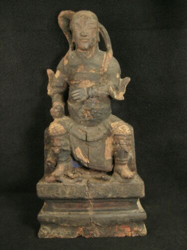 ANTIQUE 17TH CENTURY  CHINESE CARVING STATUE OF NAJA (NEZHA) YOUNG WARRIOR GOD