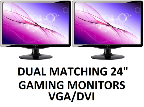 "Dual Matching ViewSonic 24"" VA2431WM LCD Widescreen Gaming Computer Monitors"