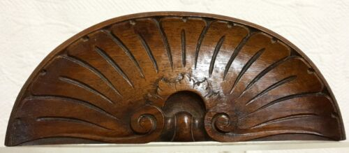 Scroll shell wood carving pediment Antique french walnut architectural salvage