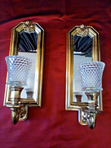 VINTAGE PAIR CANDLE WALL SCONCE GOLD MIRROR HOLLYWOOD REGENCY 2  GLASS VOLTIVE