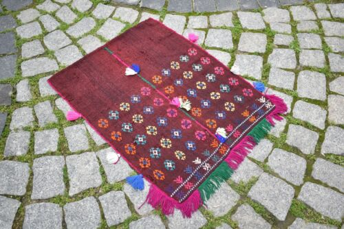Fabulous Antique Anatolian Collector's Piece Distressed Embroidered Kilim Rug