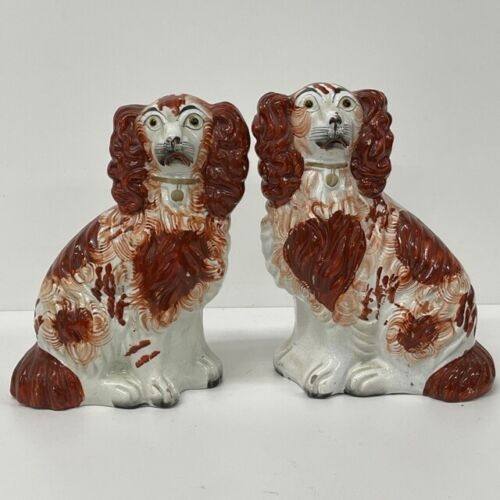 Pair Antique Staffordshire Dogs Victorian King Charles Spaniels Wally Dogs