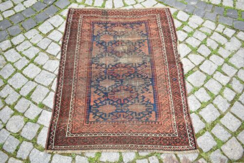 Fabulous Antique Rare Tribal Rug Collectors Piece Distressed Low Pile Tribal Rug