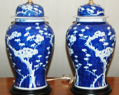 CHINESE Hawthorn PORCELAIN LAMPS Pair Ginger Temple Jars Prunus Blue & White 7T