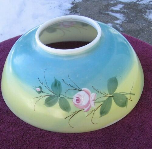Antique Pretty Pink Rose on Blue Yellow Background Parlor Light Shade~Stock ee