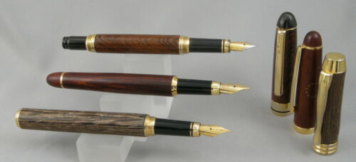 3 Wood & Gold Fountain Pens - Three Woos, Gold Trim - Nice Writers