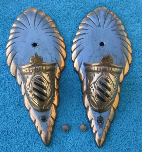 2 Antique Japanned Style Metal Art Deco Wall Sconces Marked on Back~Stock r
