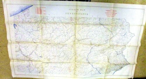 Vintage 1930 Bureau of Property and Supplies State of Pennsylvania Stream Map