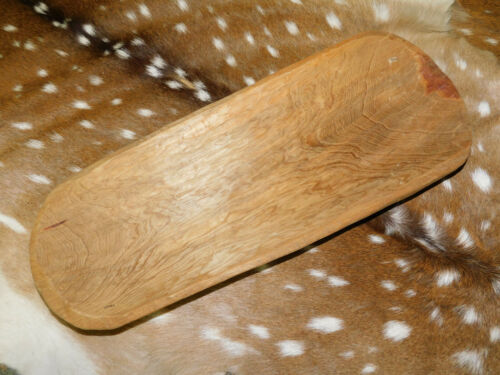 """Carved Wooden Dough Bowl Primitive Wood tray Trencher Baguette Decor 20 5/8"""""""