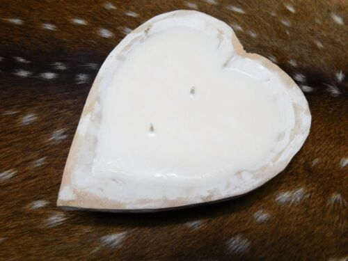 Carved Wooden Dough Bowl Soy Wax Candle Scented VANILLA Trencher 1/2 LB Heart