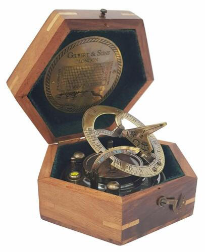 SUNDIAL  Antique Compass 4 Inch Large Perfectly Case Top Grade With Wooden Box