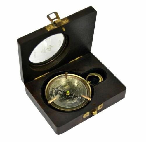 Nautical Beautiful Antique DOLLOND LONDON 1920 Compass 3 Inch With Wooden Box