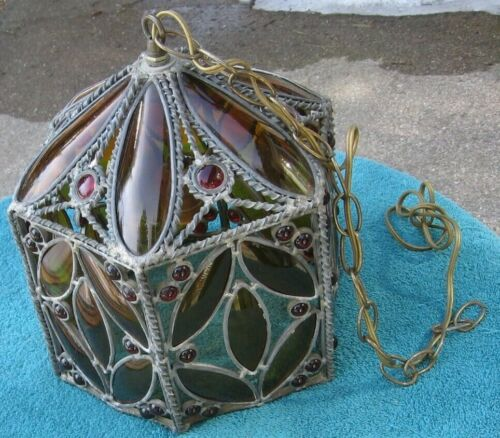 Antique Silver Color Ceiling Fixture w Amber & Red Bead Shag Style Glass~Part t4