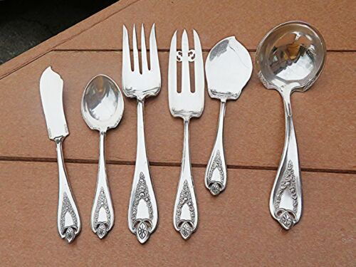 Lot 6 Antique Serving Pcs in 1847 Rogers Bros Popular 1911 OLD COLONY Pattern