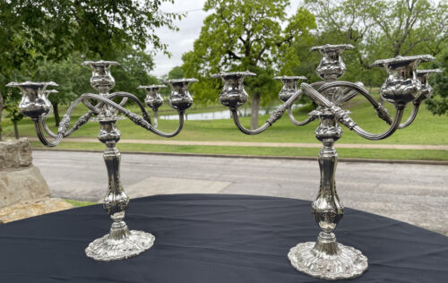 FRANCIS I, Reed and Barton American Sterling Silver Pair of 5-Armed Candelabra