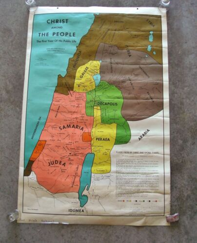 1956 The Time of Moses Christ Among the People High School Double Sided Map