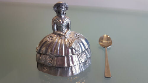 VINTAGE LADY BELL, PLATED OVER BRASS. THIS IS IN PERFECT CONDITION WITH RINGER.