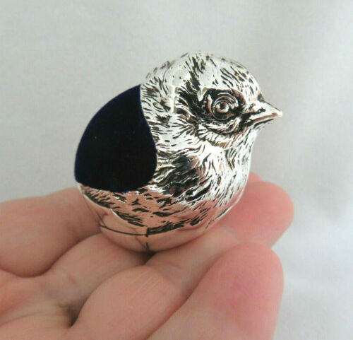 Silver Plated Chick Bird in Egg Sewing Pincushion