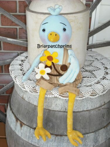 Primitive Summer Mr. Bluebird Doll w Flowers Decoration Folk Art