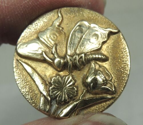 ANTIQUE BRASS PICTURE BUTTON ~ BUTTERFLY
