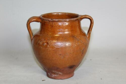 RARE 19TH C PENNSYLVANIA OVOID REDWARE TWO HANDLE LIQUOR JUG IN GREAT GLAZE