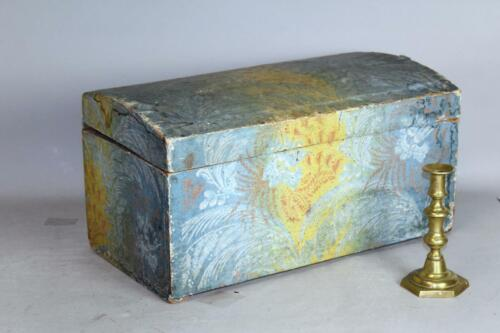 A RARE 18TH C WALLPAPER COVERED WOODEN DOME TOP STORAGE BOX IN GREAT BLUE PAPER