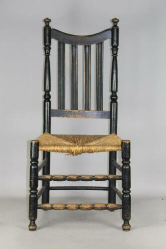 A RARE 18TH C LONG ISLAND NY BANNISTER BACK SIDECHAIR IN ORIGINAL BLACK PAINT
