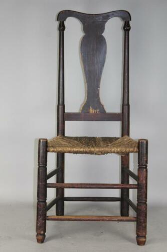 RARE 18TH C STRATFORD, CT QA SIDECHAIR IN THE BEST ORIGINAL RED PAINT RUSH SEAT