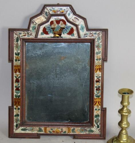 THE BEST 18TH C AMERICAN COURTING MIRROR WITH REVERSE PAINTED GLASS DECORATION