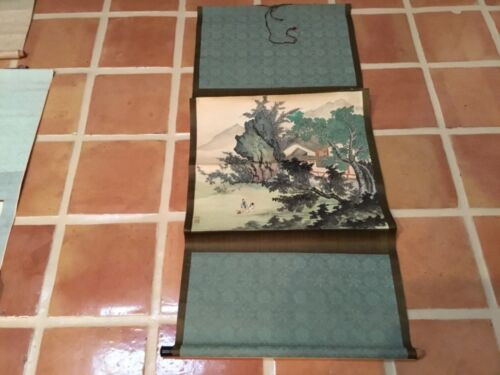 Antique Chinese scroll painting 2 men having tea in mountains signed seal mark