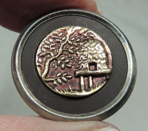 ANTIQUE BRASS PICTURE BUTTON  ~  BEE HIVE OR BEE SKEP  HTF