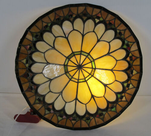 """Vintage 18"""" Stained Glass Dome Chandelier Hanging Lamp Shade Ceiling Fitting yqz"""