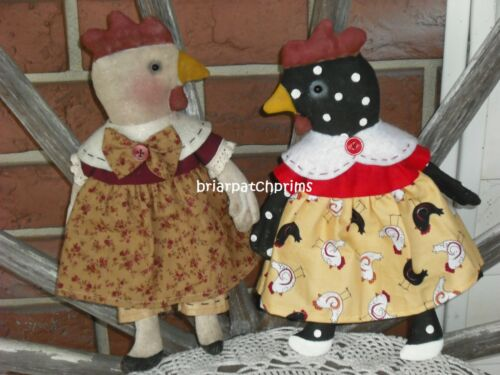 Primitive Set of 2 Chicken Dolls Country Farmhouse Decoration Rooster Folk Art