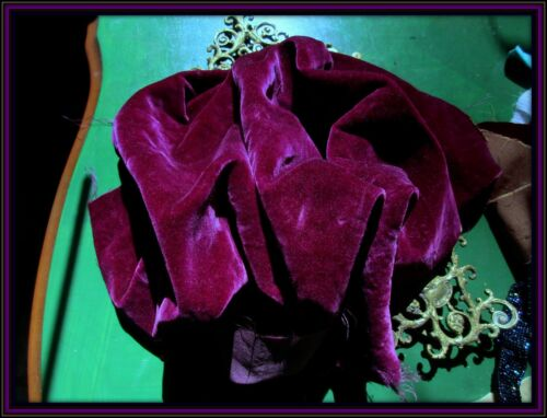 RARE ANTIQUE FRENCH VICTORIAN SINKABLY SOFT PURE SILK VELVET FABRIC RICH MAGENTA