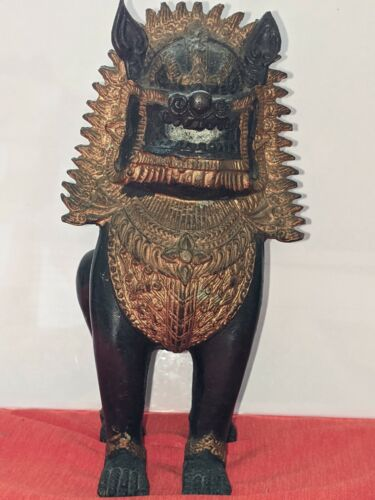 Antique Solid Bronze Khmer Statues. Temple Guardian Lion/Dogs known as 'Singha'.