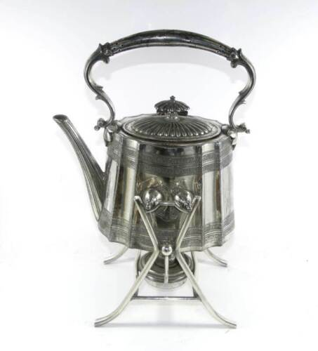 Antique Walker & Hall EP silver plated spirit kettle on stand with burner