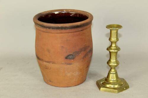 VERY NICE 19TH C PENNSYLVANIA UNGLAZED REDWARE OVOID FORMED CROCK GREAT COLOR