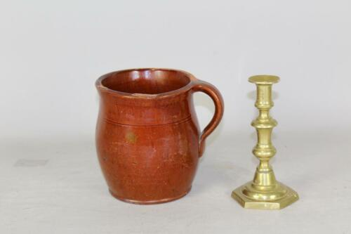 A FINE 19TH C PENNSYLVANIA REDWARE CIDER JUG WITH HANDLE IN PERFECT CONDITION