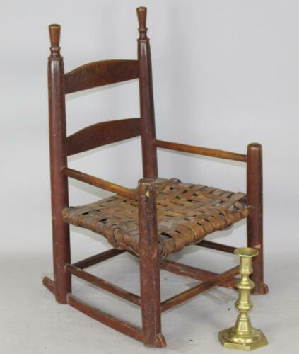RARE 18TH C WILLIAM & MARY CHILD'S 2 SLAT ARMCHAIR BOLD FINIALS IN ORIGNAL RED