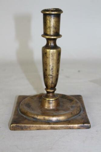 RARE 17TH C SPANISH BRASS CANDLESTICK BOLD SHAFT FLAT BASE GREAT OLD SURFACE