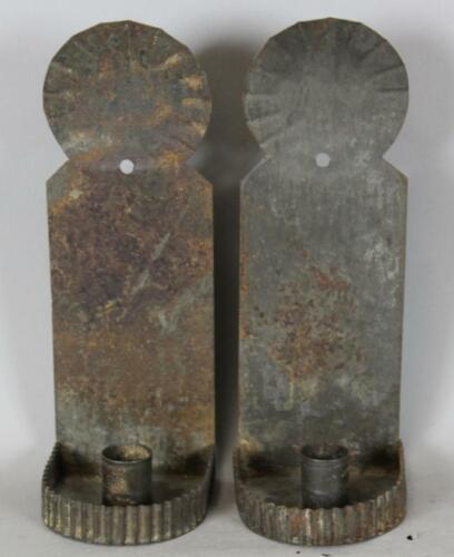 PAIR OF EARLY 19TH C TIN CANDLE SCONCES IN OLD GRUNGY SURFACE WITH GREAT PATINA