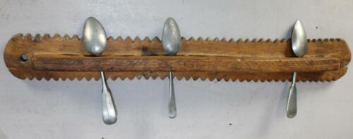 A GREAT 18TH C CHIP CARVED AND DECORATED MAPLE SPOON RACK IN OLD ATTIC SURFACE