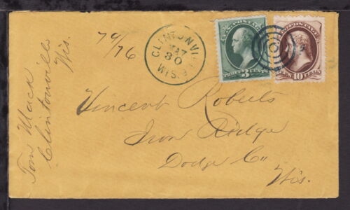 UNITED STATES 187? CLINTONVILLE WIS REGISTERED COVER 13c Rate (L391)