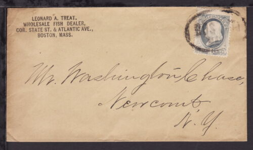UNITED STATES 187? FISH DEALER ADVERT COVER bearing 1c Blue Franklin (L390)