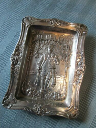 GORHAM THE BELLMAN Calling CARD Tray STERLING SILVER Colonial FIGURAL MAN Mono