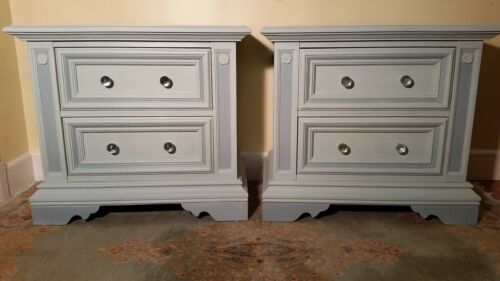 Two charming solid wood hand-painted nightstands