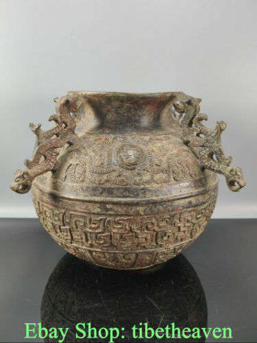 """7.2"""" Rare Antique China Bronze Ware Dynasty Palace 4 Dragon Ear Drinking Vessel"""