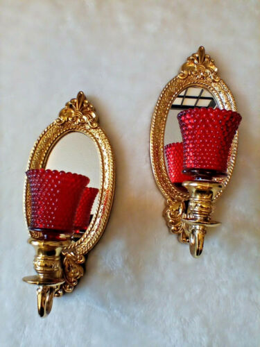 VINTAGE PAIR CANDLE WALL SCONCE GOLD MIRROR HOLLYWOOD REGENCY RED GLASS VOLTIVE